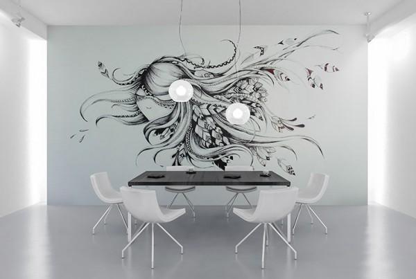 Dessin noir et blanc sur mur